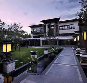 中式传统建筑灯柱景观