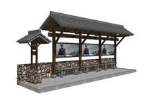 中式公交车站模型