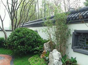 中式江南园林建筑屋檐景观
