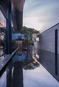 中式建筑庭院水池绿化小品 jpg图片
