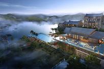 中式酒店景观半鸟瞰 JPG