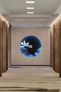 中式水墨画荷花图案墙面装饰