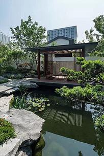 中式庭院池塘景观户外休闲亭子