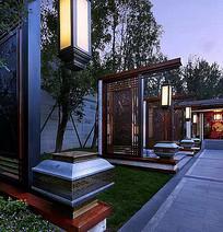 中式庭院路灯景观 JPG