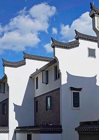中式屋檐飞檐墙体外立面
