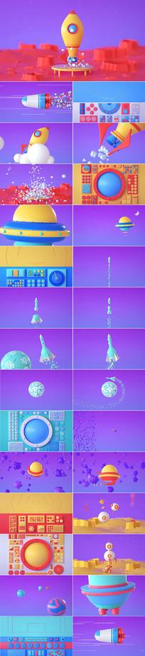 可爱卡通火箭发射CG视频