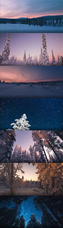 实拍冬天雪景寒冷风景视频