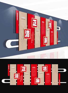 中国风古典廉政文化墙模板 AI