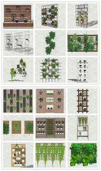 垂直绿化幕墙绿化墙SU模型