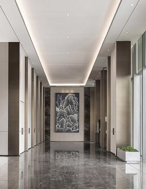 东方中式售楼处电梯厅意向