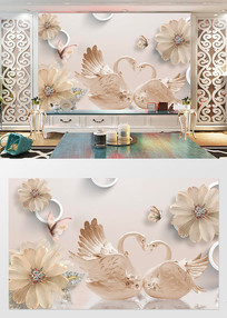 浮雕珍珠欧式复古珠宝背景墙