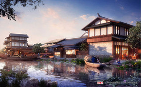 古城中式水景效果图