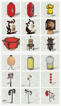 精品中式灯具灯笼SU模型