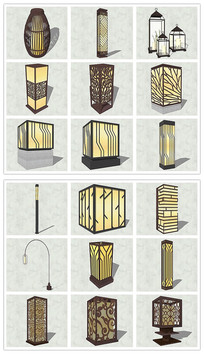 精品中式灯具台灯SU模型