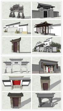 新中式入口大门门头SU模型
