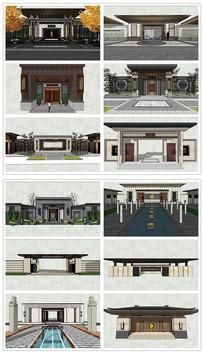新中式小区入口大门SU模型