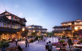 中式古典商业广场效果图