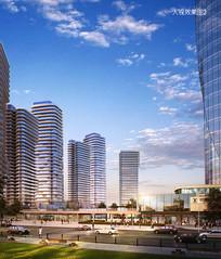 住宅区商业大门景观透视图 JPG