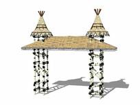 竹制入口大门模型