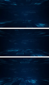 蓝色科技感线条空间演播室背景