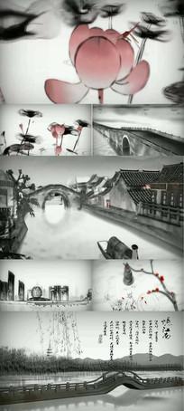 中国风水墨水乡忆江南古桥山水视频背景