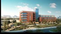 办公楼后立面建筑效果图