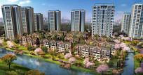 创意绿化小区住宅建筑效果图
