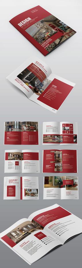 红色简约装修家居企业宣传画册