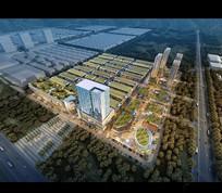 楼顶绿化建筑鸟瞰效果图