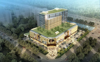 楼顶绿化商业建筑效果图