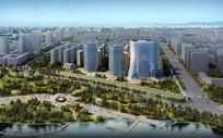 绿化景观高层建筑效果图 PSD
