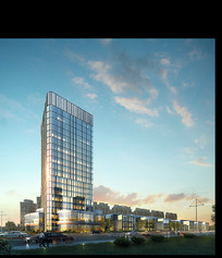 商业住宅高层建筑效果图 PSD