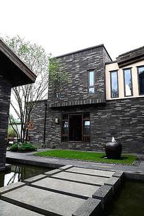 新中式条石建筑立面装饰