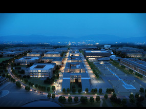 夜景建筑透视效果图 PSD