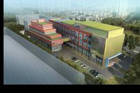医院建筑后立面鸟瞰效果图