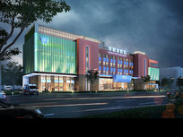 医院建筑夜景效果图