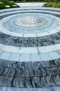 圆形中式瓦片装饰铺装 JPG