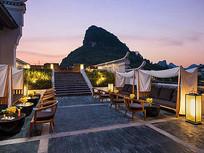 中式民宿酒店屋顶庭院