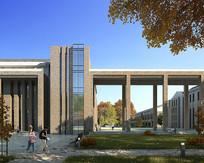 砖墙式立面建筑效果图 PSD