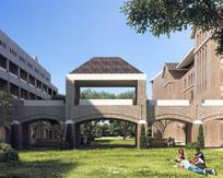 砖墙式立面走廊建筑效果图