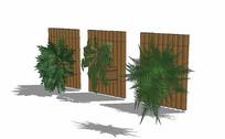 竹制植物景观墙