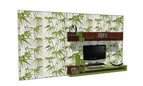 竹子电视背景墙