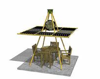 竹子桌椅凉亭组合