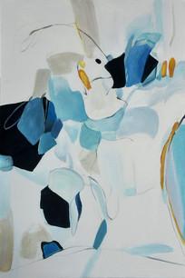 高清抽象意境山水聚宝盆油画