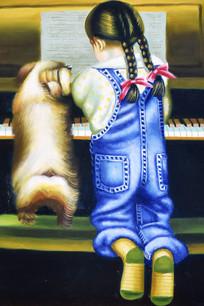 手绘儿童弹钢琴油画图
