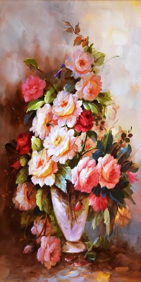 手绘鲜花花开富贵油画玄关
