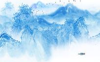 新中式蓝色水墨山电视背景墙