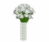 白玫瑰花束花瓶