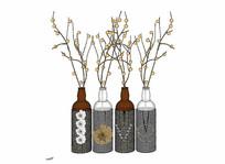 现代花瓶模型组合