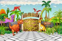 全矢量恐龙世界入口拱门